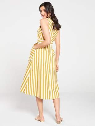 Warehouse Stripe Button Front Mix Dress - Yellow