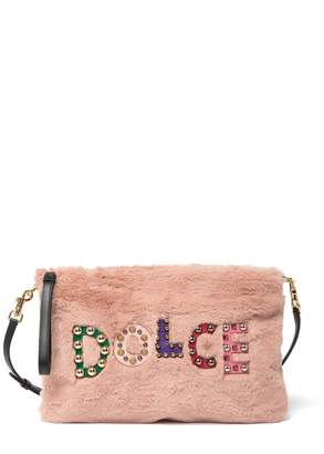 Dolce & Gabbana Faux Fur Embroidered Logo Clutch