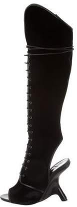 Tom Ford Velvet Peep-Toe Knee-High Boots