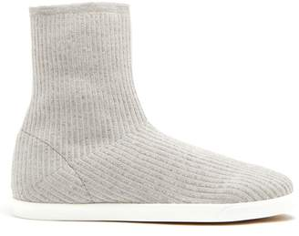 The Row Dean ribbed-top leather-trimmed boots