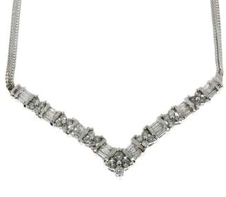 14K White Gold with 1.04ct Diamond Flat Chain Necklace