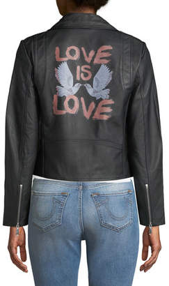 Rebecca Minkoff Wes Love Doves Leather Motorcycle Jacket