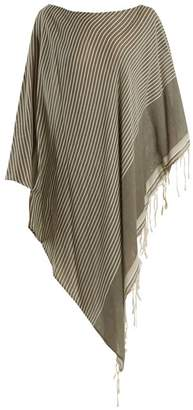 Su - Syama Off The Shoulder Striped Cotton Kaftan - Womens - Khaki Multi