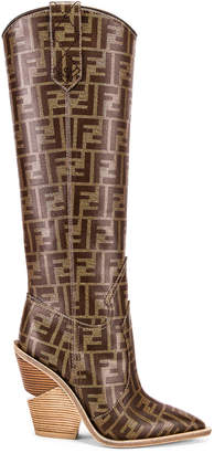 Fendi Logo Cowboy Boots in Brown | FWRD