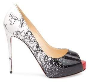 Christian Louboutin Women's New Very Prive 120 Degrade Patent Leather Peep Toe Pumps - Black Snow - Size 35 (5)