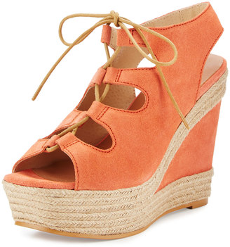 Andre Assous Gilly Lace-Up Suede Wedge Sandal, Coral $179 thestylecure.com