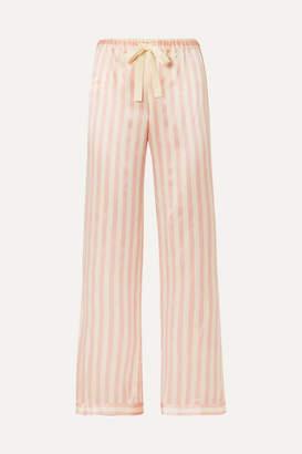 Morgan Lane - Chantal Striped Silk-charmeuse Pajama Pants - Blush