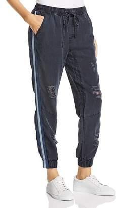 Vintage Havana Track Stripe Distressed Jogger Pants