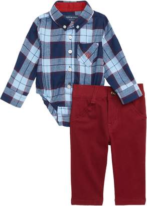 Andy & Evan Shirtzie Flannel Bodysuit & Pants Set