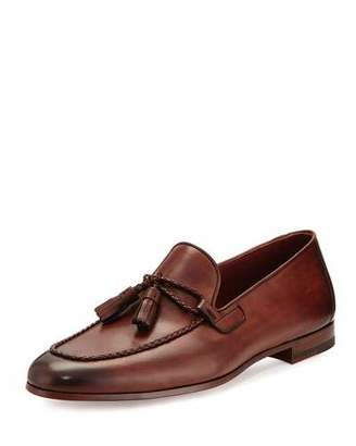 Magnanni for Neiman Marcus Leather Loafer with Woven Tassels, Medium Brown $425 thestylecure.com