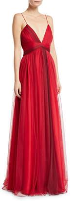 Zac Posen Beth V-Neck Sleeveless Tulle Dress