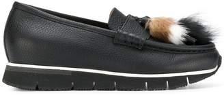 Santoni fur tassel front loafers