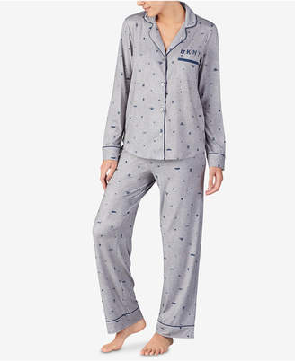 e449a5795d ... DKNY Super-Soft Printed Notch Collar Pajama Set