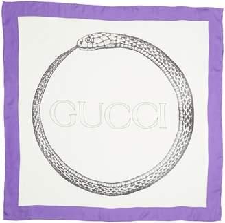 Gucci Ouroboros Square Foulard Silk Scarf
