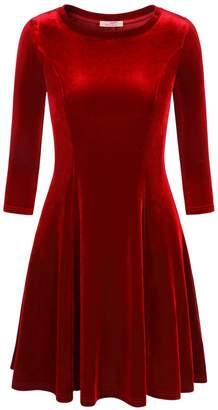 Slivexy Women's 3/4 Sleeve Swing Flared A line Casual Velvet Knee Length Dress