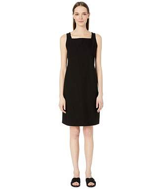 Eileen Fisher Washable Stretch Crepe Square Neck Knee Length Dress