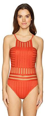 Kenneth Cole New York Women's High Neck Crochet One Piece Swimsuit