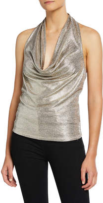 Ramy Brook Dee Metallic Cowl-Neck Halter Top