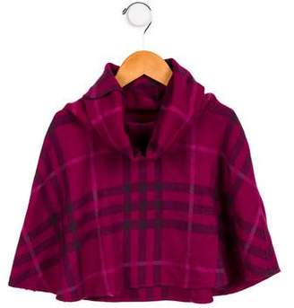 Burberry Girls' Wool Overdyed Horseferry Check Poncho