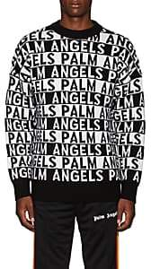 Palm Angels Men's Striped-Logo Wool Sweater - White