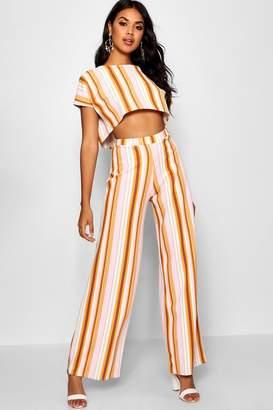 boohoo Stripe Oversized T Shirt & Wide Leg Trousers