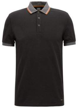 BOSS Hugo pique polo shirt houndstooth collar & cuffs M Black