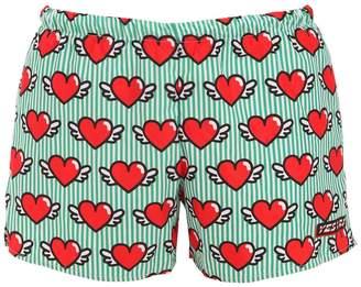 Flying Hearts Print Nylon Swim Shorts