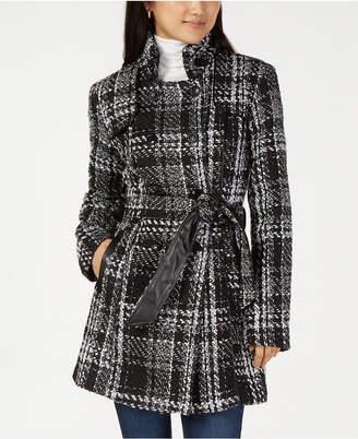 BCX Juniors' Plaid Faux-Leather Trim Jacket