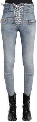 Unravel Lace Up Skinny Stretch Denim Jeans