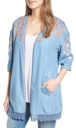 BILLY T Embroidered Chambray Kimono