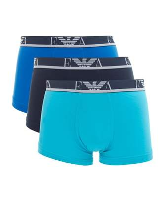 Emporio Armani Three Pack Contrast Waistband Trunks