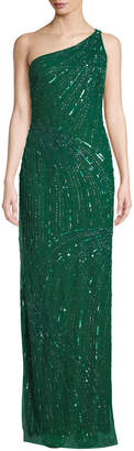 Naeem Khan One-Shoulder Sequined Gown