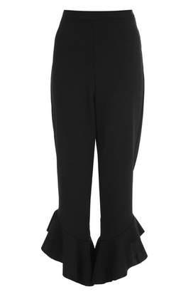 Quiz Black Crepe Frill Hem Trousers
