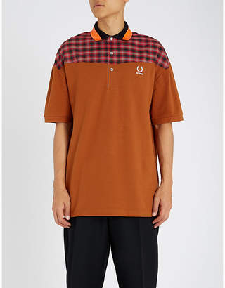 Fred Perry Oversized checked cotton-piqué polo shirt