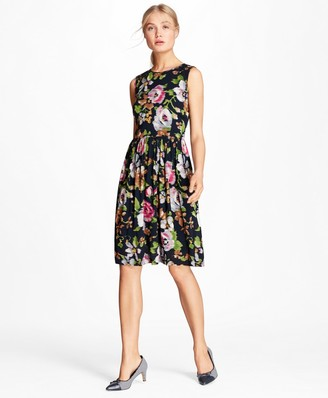 Brooks Brothers Floral-Print Georgette A-Line Dress