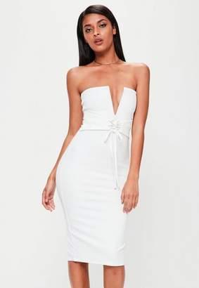 Missguided White Bandeau Corset Belt Dress