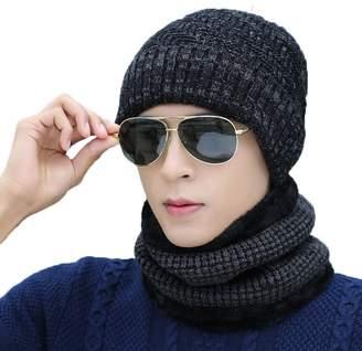 K-mover Unisex Cuffed Plain Skull Beanie Toboggan Knit Hat/Cap Slouchy Thick Winter Beanie Hat + Scarf