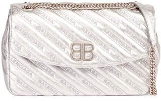 Balenciaga BB Round Medium Metallic Leather Chain Shoulder Bag