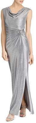 Lauren Ralph Lauren Metallic Cowl-Neck Gown
