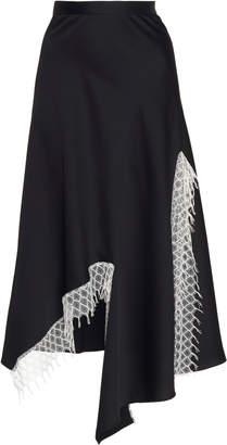 CHRISTOPHER ESBER Dual Split Lattice Lace Satin Skirt