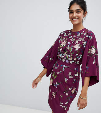 Asos Tall TALL Kimono Mini Dress with Embroidery