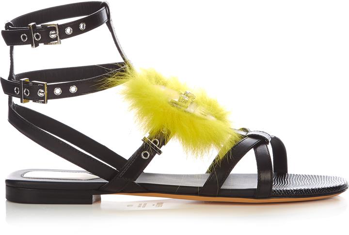 FENDI Bag Bugs fox-fur embellished leather sandals