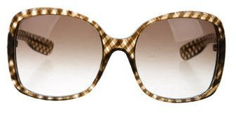 Bottega VenetaBottega Veneta Gingham Oversize Sunglasses