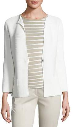 Armani Collezioni Ottoman Snap-Front Jacket, Off White