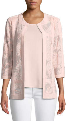 Misook Tonal Floral Embroidered Jacket