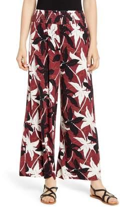 BP Floral Print Smocked Waist Wide Leg Pants