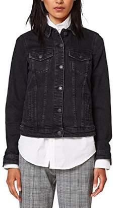 Esprit Women's 028ee1g032 Denim Jacket, (Black Medium Wash 912)