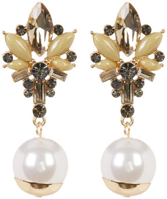 Natasha Accessories Stone Cluster with Faux Pearl Drop Earrings $14.97 thestylecure.com
