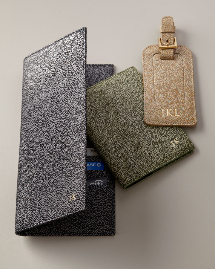 Graphic Image Shagreen-Embossed Leather Travel Accessories