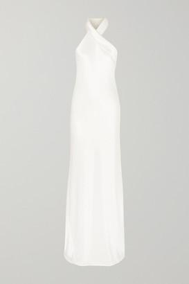 Galvan Mayfair Halterneck Asymmetric Hammered-satin Gown - White